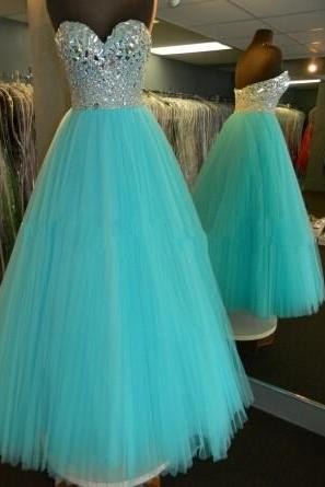 2017 New Stunning Light Sky Blue Prom Dresses Ball Gown For Sweet 16 Girls Quinceanera Dresses Evening Dresses Party Dresses Tulle Sweetheart Crystals Bodice Pageant Dresses Cheap