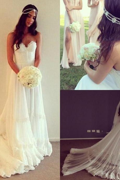 Beach Boho Wedding Dresses Sweetheart 2018 Backless Lace Beaded Sequins Off The Shoulder Fashion Simple Wedding Dress Bridal Gowns Vestidos