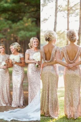 Gold Sequins Bridesmaid Dresses 2018 Backless Scoop Collar Sweep Train Short Sleeve Cheap Sparkly Formal Prom Gowns Evening Dress Wedding,Bridesmaid Dresses Backless,Short Sleeve Bridesmaid Dress