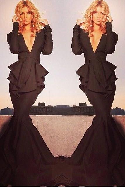 Long Sleeve Black Evening Dresses 2017 Deep V-Neck Mermaid Evening Wear Dress Sweep Train New Vestidos Party Pageant Prom Gown Formal Gowns