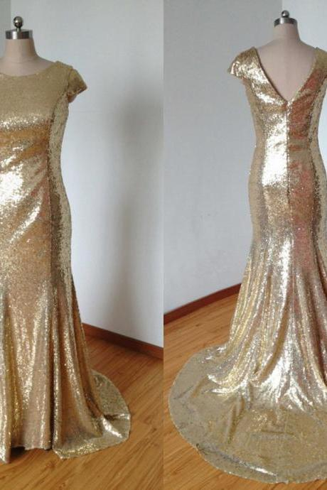 Gold Sequins Bridesmaid Dresses Short Sleeve 2017 Court Train Backless Zipper Back Fashion Formal Prom Gowns Evening Wear Gown Wedding Dress