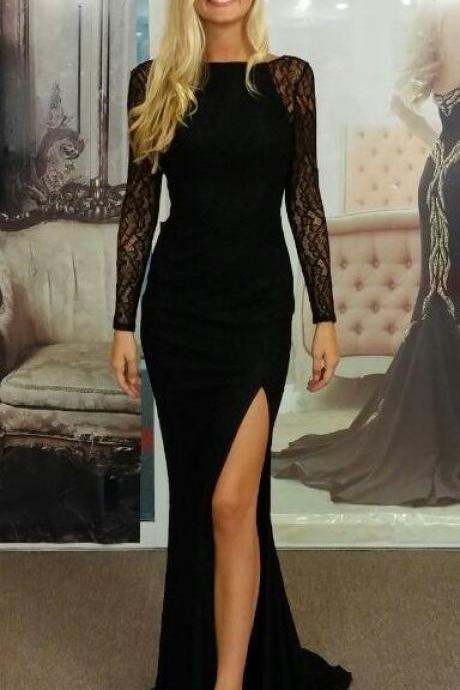 Side Split Sheath Evening Dresses 2017 Long Sleeve Sweep Train Lace Sheer Scoop Collar Elegant Cheap Black Vestidos Party Formal Prom Dress