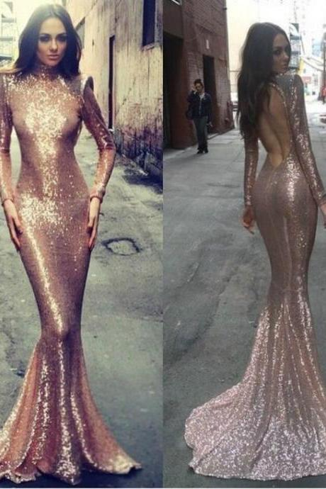 Mermaid Gold Sequins Evening Gowns 2017 Long Sleeve Evening Wear Dress Court Train High Neck Backless Fashion For Party Formal Prom Dresses