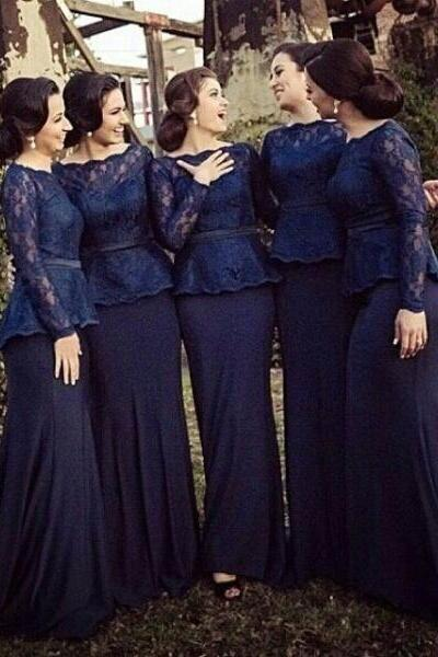 Dark Navy Bridesmaid Dresses 2017 Scoop Collar Long Sleeve Lace Sweep Train Sash Piping Formal Prom Gowns Evening Wear Gown Wedding Dress