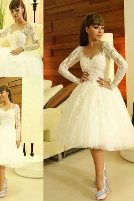Myriam Fares Short Wedding Dresses Sweetheart Long Sleeve Appliques Lace Beaded Sequins Beading Vestido De Fiesta Wedding Dress Bridal Gowns