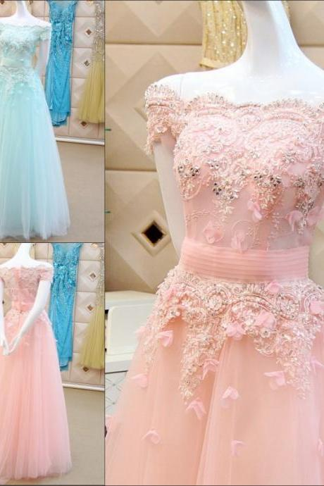 Light Pink Wedding Dresses 2017 Beaded A-Line Short Sleeve Lace Up Floor-Length Beading Sequins Light Sky Blue Spring Bridal Gown Vestido