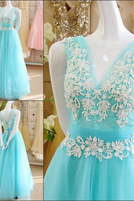 Light Blue Wedding Dresses Beaded Sequins Floor-Length Backless V-Neck Sash Beading Wedding Dress 3D-Floral Appliques Bridal Gown Vestido