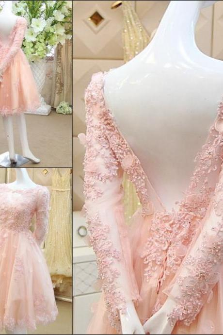 Short Wedding Dresses 2017 Backless 3D-Floral Appliques Long Sleeves Beaded Sequins Ruffles Scoop Collar Vestidos Bridal Gowns Cheap New