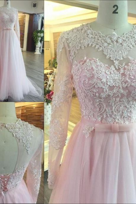 Pink A-Line Wedding Dresses Beaded Jewel Collar Court Train Sequins 3D-Floral Appliques Long Sleeves Cheap Wedding Dress Bridal Gown Vestido