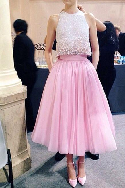 2017 Pink Graduation Dresses Beaded Collar A-line Two Pieces Pleats Crystal Beading Jewel Neck Prom Cocktail Gown Formal Homecoming Gowns
