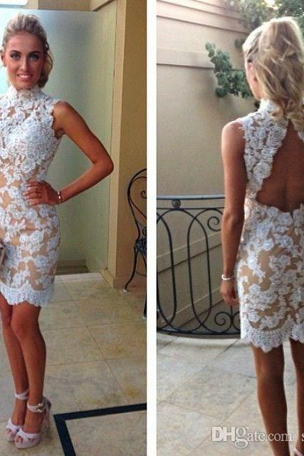 2017 Party Dresses Lace Backless High Neck Appliques Mini Short Dress Sweety New Homecoming Cocktail Prom Dress Gown Graduation Dresses