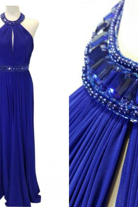 Royal Blue Prom Dresses Halter Chiffon With Crystal Beading Bling Sequin Pleated Long Evening Formal pageant Dress Gowns