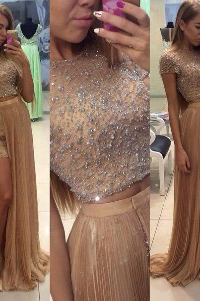 Sparkly Gold Chiffon Two Pieces Prom Dress with Short Sleeves 2016 Beading Bling Crystals Long Evening Dress Formal Gowns Cheap