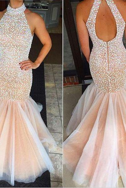 New Arrival Pearls High neck Mermaid Evening Dresses Prom Dresses Long Cheap Backless Organza Sequin Formal Dress pageant Dresses Floor length Party Dress