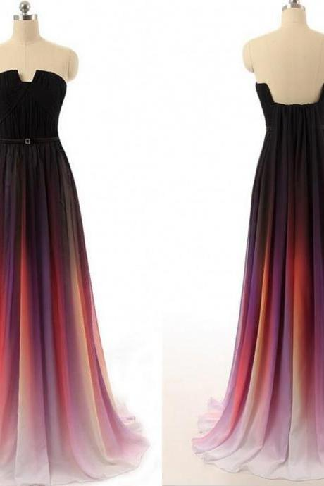 Gradient Ombre Dresses Bridesmaid Dresses Evening Wear Prom Dresses Off Shoulder Sweep Train Cheap Pleats Backless Prom Dresses Long