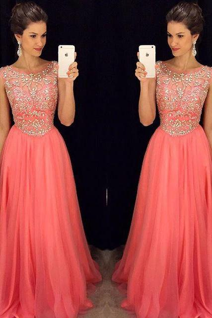 Luxury Coral Prom Dresses with Cap Short Sleeves 2016 A line Tulle Evening Dresses Cheap Long Crystal Rhinestones Beading Backless Party Dress Formal Gowns