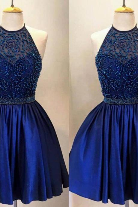 Royal Blue High neck Homecoming Dresses A line Backless Short Prom dresses Cheap Pearls Beading Pleated Evening Dresses Party Gowns Cocktail dress New 2016