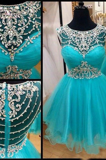 Amazing Teal Cap Short Sleeves A line Tulle Homecoming Prom Dress Short Cheap 2016 Crystal Sequined Beading Hollow Back Evening Formal Dresses Gowns 160