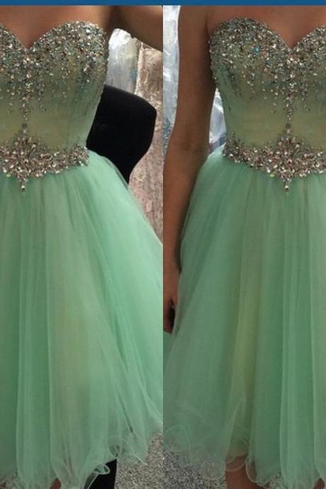 Cute Mini Green Sweetheart Neckline Homecoming Dresses , Short Prom Dress , Crystal , Bling , Beading , Tulle , Mini , Party Dresses 161