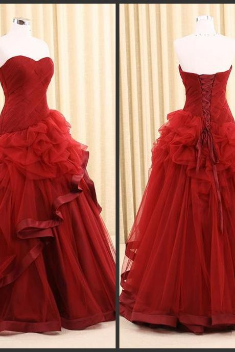 Red Simple Dress For Brides Wedding Gown Pleats Tiered Floor Length Good Sell Cheap Price Modern Lace up Sleeveless 2016