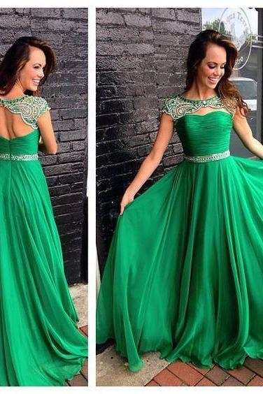Bakcless Prom Dresses Green Chiffon Gown Floor Length Sexy Cheap Party Dresses Hot Sales Elegant Major Beadings Crystals Gown