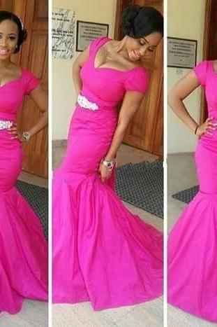 Fuchsia Pink Deep V Neck Short Sleeve Mermaid Sheath Dresses For Africa Dress Cheap Prom Formal Dresses Custom Made 2016
