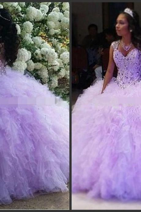 Ball Gown Piping Purple Capped Sleeves Sweetheart Neck Crystals 2016 Fashion Modern Style Elegant Priness Good Sell Stock