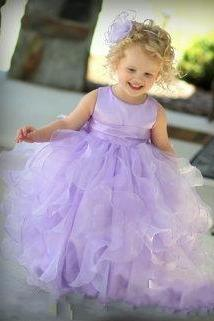 Purple Piping Flowers Girls Dress Zipper Back Ball Gown Jewel Neck Cheap Dress Ankle Length 2016 Modern Style