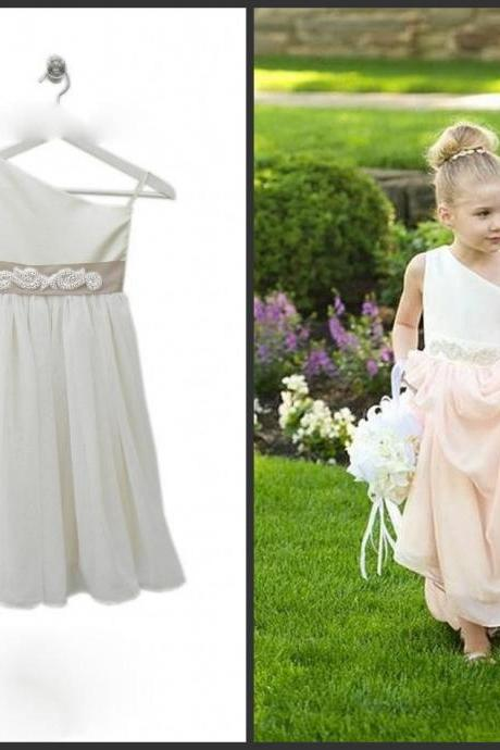 White Little Dress For Girls One-shoulder Stain And Chiffon Sashed Beading Cheap Dress Flowers Girls Dress 2016 Cute Gown