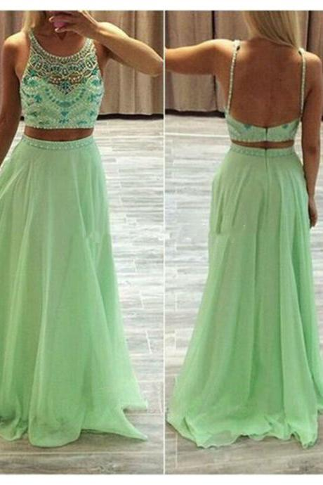 Green Long Prom Dress Backless Chiffon Dress Two Pieces Dress Crystals Pearls 2016 Open Back Scoop Neck Sleevelss Cheap Party Gown
