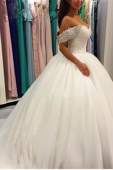 White Ball Gown Chaples Trian Woth Appliques Covered Bottons Sexy Off-shoulder Wedding Dress Cheap Bridal Dress 2016 Crystals