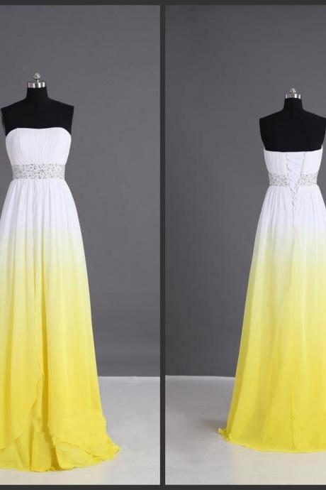 Beaded Beadings Sashed Floor Length 2016 Yellow Prom Dress Long Goan Colorful Dress Amazing Designer Lace Up Back Sleeveless Strapless