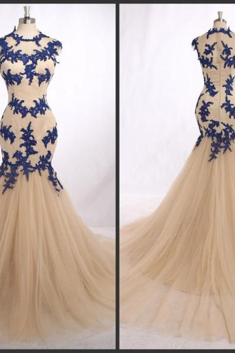 2018 Mermaid Long Prom Elegant Jewel Neck Capped Sleeve Sweep Train Tulle Dress With Blue Appliques Good Sell Best Design Party Dresses