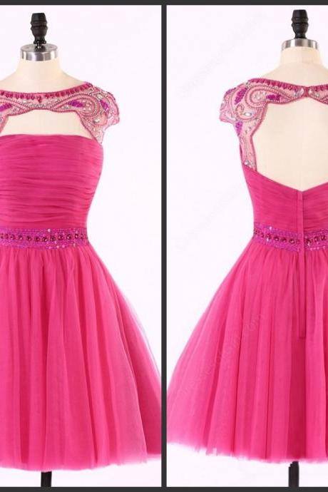 Fuchsia Dress Backless prom Dress Bateau Neck Capped Sleeve Strapless Neck Aline Party Dress Crystals Beadings Cute Dress Custom Made High Quality