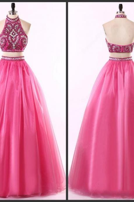 Halter Neck Prom Dress Fuchsia Two Pieces Dress Elegant Backelss Crystals Beading Bling Dress Cheap Price Fantastic Designer Good Style Open Back