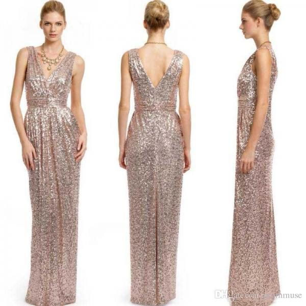 Sparkly Short Gold Sequins Bridesmaid Dresses 2016 Short Sleeve ...