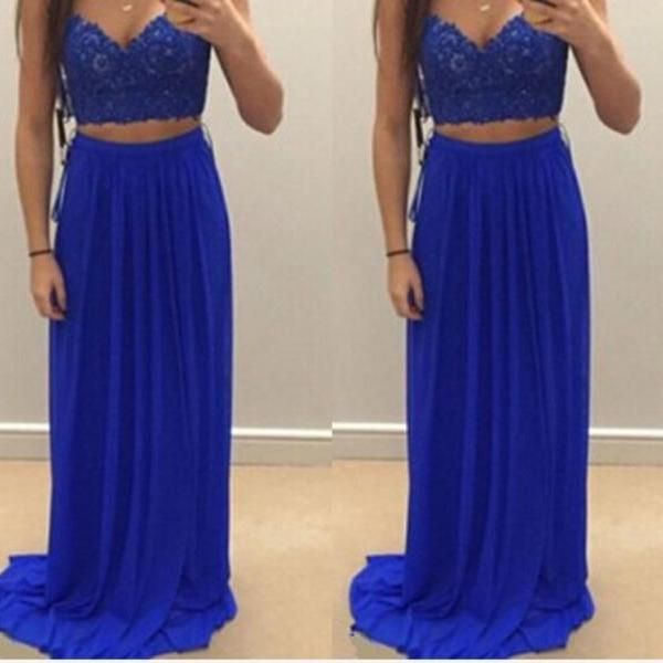 2017 Royal Blue Two Pieces Prom Dresses , Cheap Chiffon Backless Evening Dresses , Sexy Applique Lace Pageant Formal Dress Custom 2017