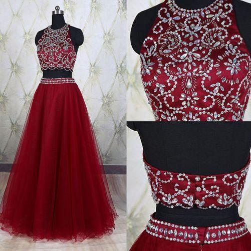 2018 Wine Red New 2 Piece Prom Dresses With Sheer Neckline Hollow back Crystal Sequined Bling Beaded Tulle A line Evening Formal Dress Gown Custom 2017