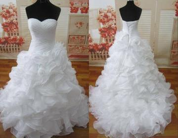Hot Sale White Ivory Wedding Dresses Sweetheart Organza